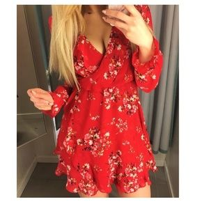 cute red floral dress h&m